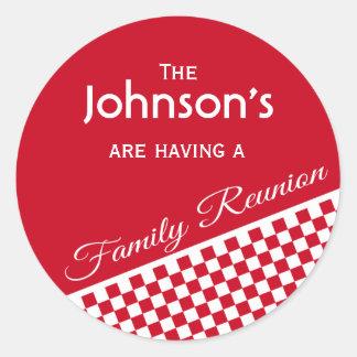 Red Checker Pattern Family Reunion Envelope Seal Round Sticker