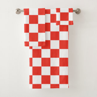 Red Checkerboard Bath Towel Set