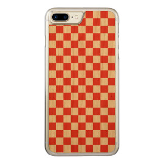 Red Checkerboard Carved iPhone 8 Plus/7 Plus Case