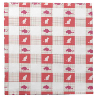 Red Checkerboard Cat Pattern Napkin