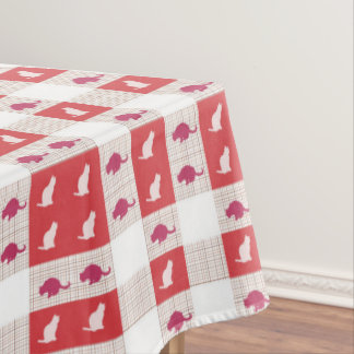 Red Checkerboard Cat Pattern Tablecloth