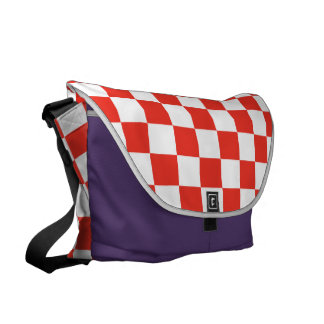 Red Checkerboard Courier Bag