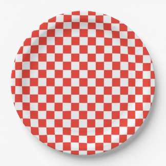 Red Checkerboard Paper Plate