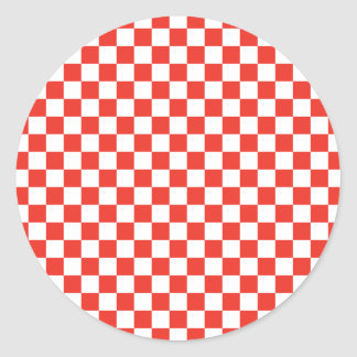 Red Checkerboard Round Sticker