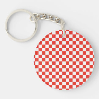 Red Checkerboard Single-Sided Round Acrylic Key Ring
