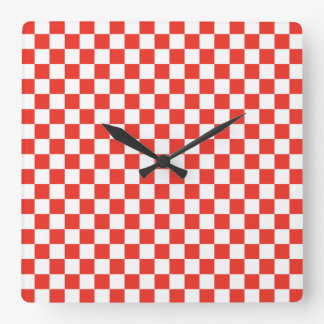 Red Checkerboard Square Wall Clock