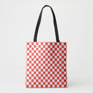 Red Checkerboard Tote Bag
