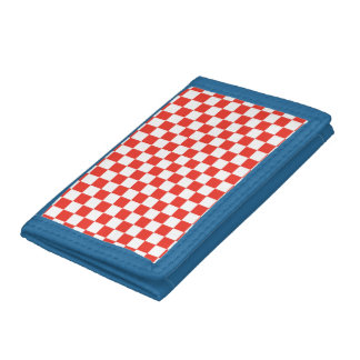 Red Checkerboard Trifold Wallets
