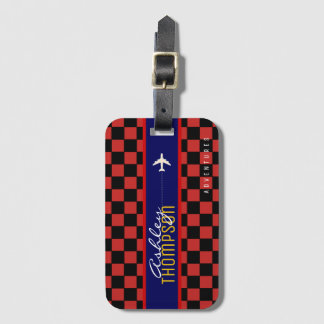 red checkered luggage tag air travel adventures