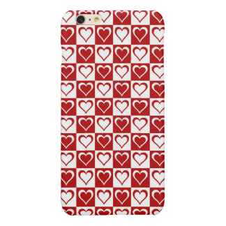 Red Checkered pattern with Hearts