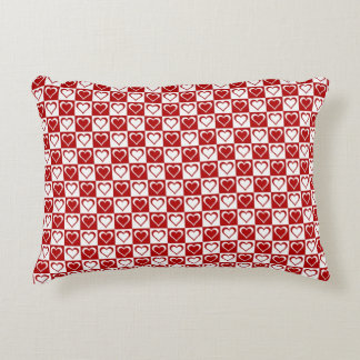 Red Checkered pattern with Hearts Accent Cushion