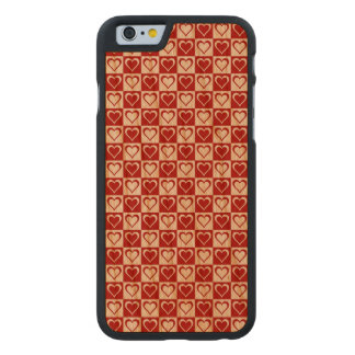 Red Checkered pattern with Hearts Carved® Cherry iPhone 6 Case