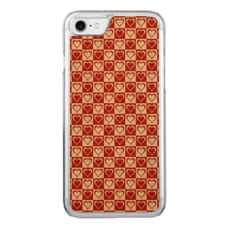 Red Checkered pattern with Hearts Carved iPhone 7 Case