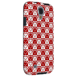 Red Checkered pattern with Hearts Galaxy S4 Case