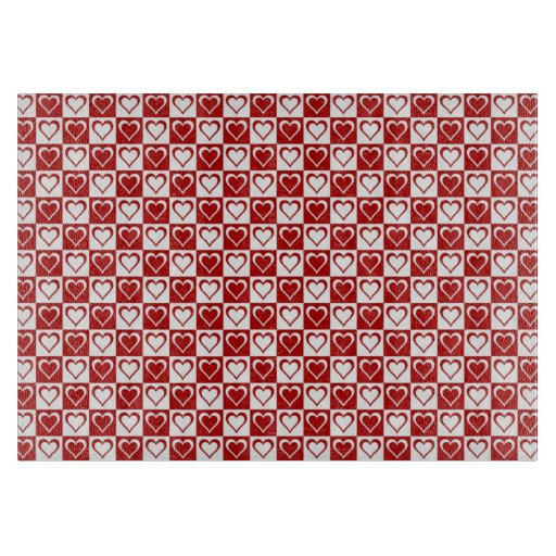 Red Checkered pattern with Hearts Cutting Boards