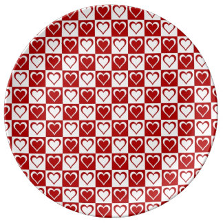 Red Checkered pattern with Hearts Porcelain Plates