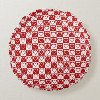 Red Checkered pattern with Hearts Round Cushion