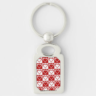 Red Checkered pattern with Hearts Silver-Colored Rectangle Key Ring