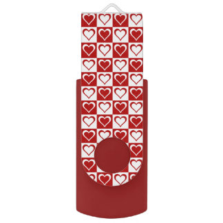 Red Checkered pattern with Hearts Swivel USB 2.0 Flash Drive