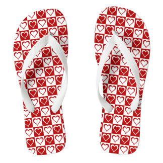 Red Checkered pattern with Hearts Thongs