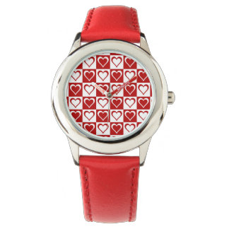 Red Checkered pattern with Hearts Wristwatch