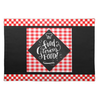 Red Checkered Tablecloth Theme with Black Placemat