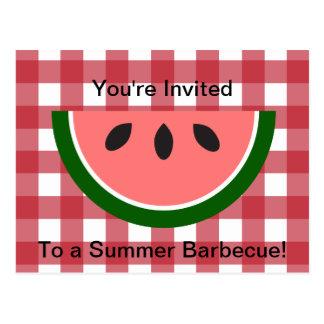 Red Checkered Tablecloth Watermelon Invitation Postcard