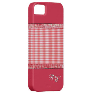 Red checkered with Monogram Case For The iPhone 5