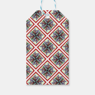Red checks amd multicolored swirls gift tags