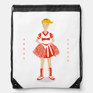 Red Cheerleader Drawstring Bag