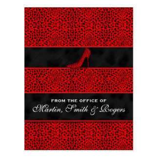 Red Cheetah Print Personalized Postcards