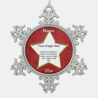 Red Chenille Star Shape Photo Frame Template Snowflake Pewter Christmas Ornament