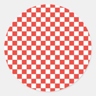Red Chequerboard Round Sticker