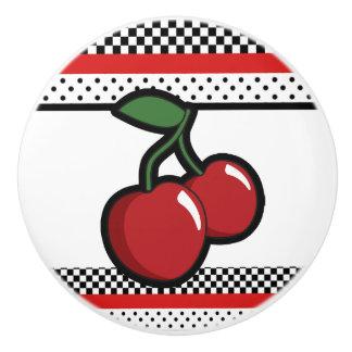 Red Cherries Black Custom Retro Glam Decor Ceramic Knob