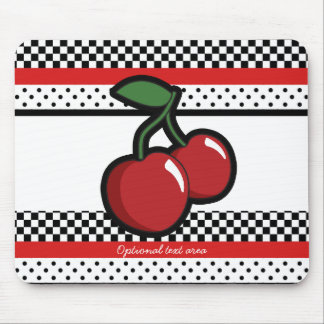 Red Cherries Black White Red Retro Personalized Mouse Pad
