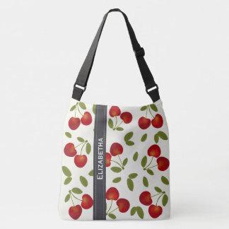 Red cherries fruit patterns crossbody bag
