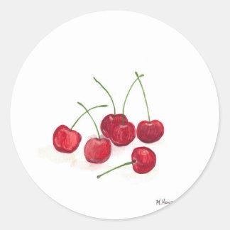 Red cherries fruit round sticker