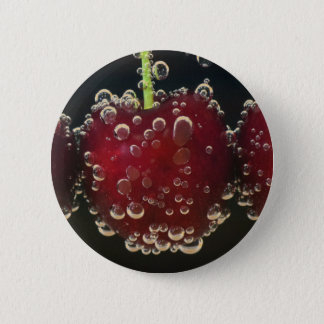 Red cherries in the water 6 cm round badge