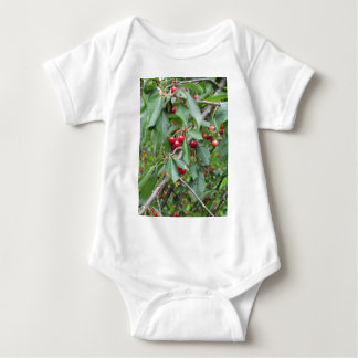 Red cherries on tree in cherry orchard baby bodysuit