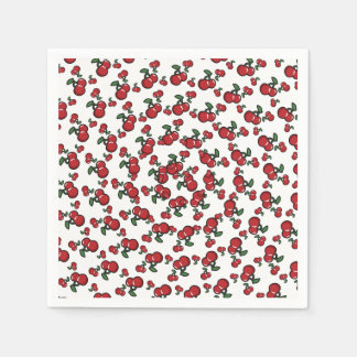 Red Cherries on White Cute Fruit Birthday Party Paper Serviettes