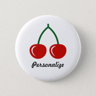 Red cherries pin button | personalized badge