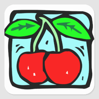 Red Cherries Square Sticker