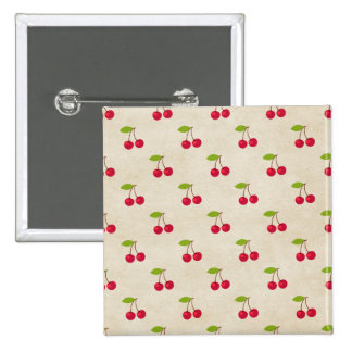 Red Cherries Tiny Cherry Print Rustic Vintage Buttons