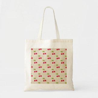 Red Cherries Tiny Cherry Print Rustic Vintage Tote Bag