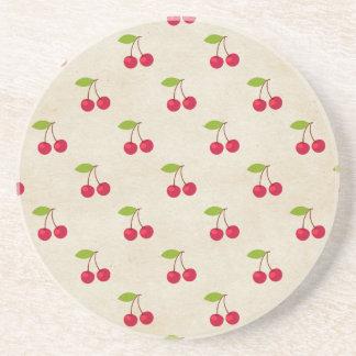 Red Cherries Tiny Cherry Print Rustic Vintage Beverage Coasters