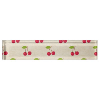 Red Cherries Tiny Cherry Print Rustic Vintage Desk Name Plate