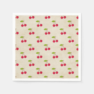 Red Cherries Tiny Cherry Print Rustic Vintage Disposable Napkin
