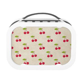 Red Cherries Tiny Cherry Print Rustic Vintage Yubo Lunchbox
