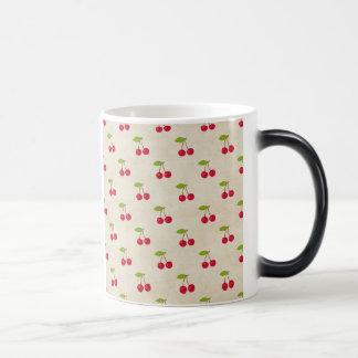 Red Cherries Tiny Cherry Print Rustic Vintage Morphing Mug