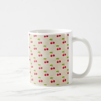 Red Cherries Tiny Cherry Print Rustic Vintage Coffee Mugs